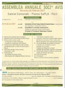 Forlì: Assemblea Avis @ Salone Comunale, Piazza Saffi 8 - Forlì