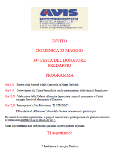 Predappio: 34° Festa del Donatore