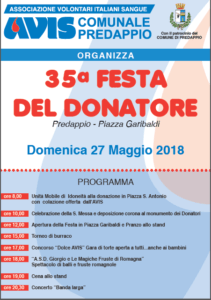 Predappio: 35^ Festa del Donatore @ Piazza Garibaldi, Predappio
