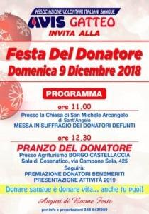 Gatteo: Festa del Donatore @ Agriturismo Borgo Castellaccia, Sala di Cesenatico