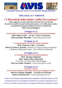 Castrocaro: I mercoledì della Salute e della Prevenzione @ Palazzo Pretorio