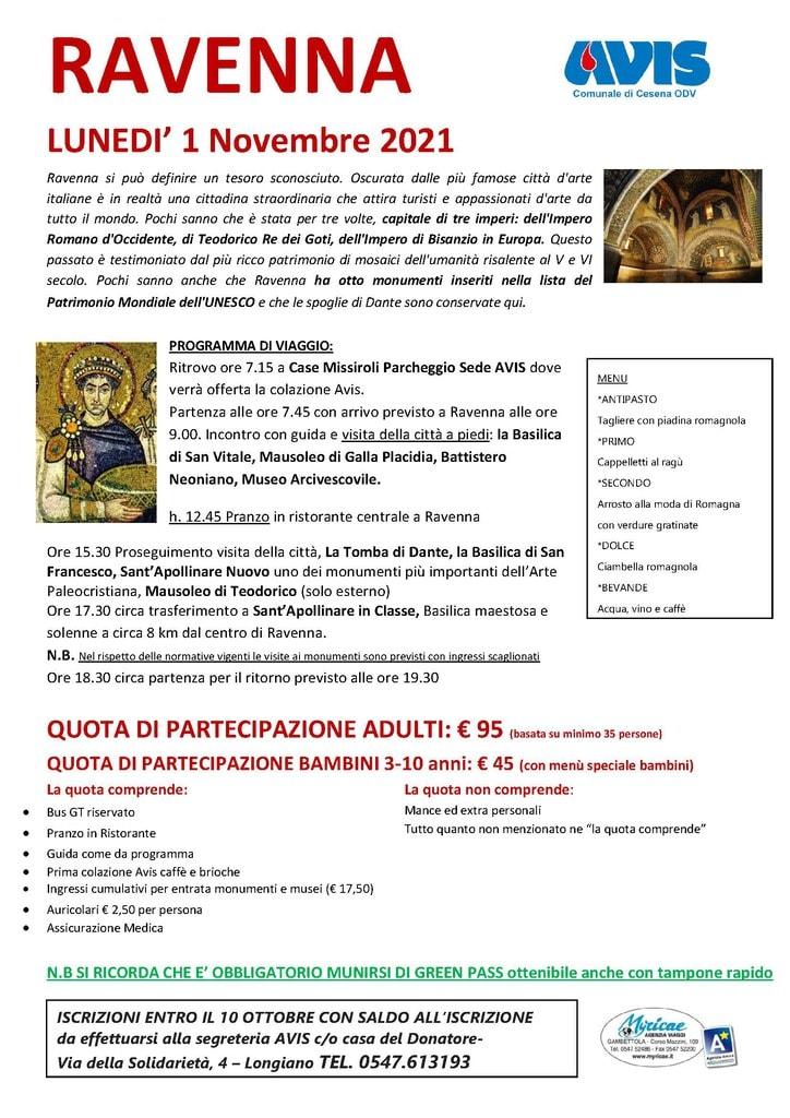 Programma gita a Ravenna 1 novembre